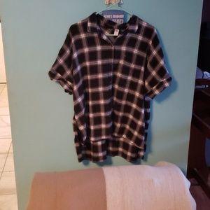 Old Navy plaid tunic shirt size XL